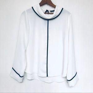 Zara - NWT. White Reverse Collar Roll Neck Blouse